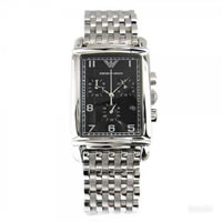 Buy Armani Watches AR0299 Stainless Black Dial Chronograph Mens Watch online