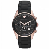 Buy Armani Watches Black and Gold Mens Chronograph Watch AR5905 online
