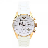 Buy Armani Watches White and Gold Womens Chronograph Watch AR5920 online