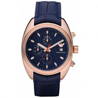Buy Armani Watches AR5935 Gents Blue Leather Watch online