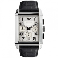 Buy Armani Watches AR0333 Gents Black Leather Watch online