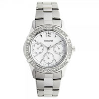 Buy Accurist Watches Stainless Silver Womens Chronograph Watch LB1640P online