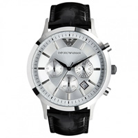 Buy Armani Watches Black Leather Mens Chronograph Watch AR2432 online