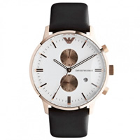 Buy Armani Watches AR0398 Emporio Armani Gianni Mens Brown Leather Watch online