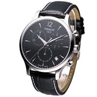 Buy Tissot Watches T063.617.16.057.00 Black Leather Mens Chronograph Watch online