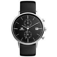 Buy Danish Design Q12Q 723 Mens Black Leather Chronograph Watch online