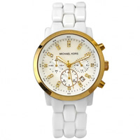 Buy Michael Kors Watches Unisex Chronograph PVD Gold & White Watch MK5218 online