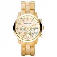 Buy Michael Kors Watches Ladies Chronograph PVD Gold & Resin Watch MK5217 online
