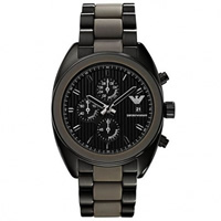 Buy Armani Watches Emporio Armani Mens Black ION Plated Steel Chronograph Watch AR5953 online