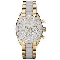 Buy Armani Watches AR5944 Sportivo Chronograph Ladies PVD Gold Plated Watch online