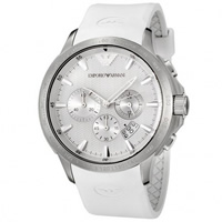 Buy Armani Watches AR5850 Mens White Chronograph Silicone Watch online