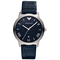 Buy Armani Watches AR1651 Emporio Armani Gianni Unisex Blue Leather Watch online
