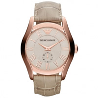 Buy Armani Watches AR1667 Emporio Armani Gianni Unisex Beige Leather Watch online