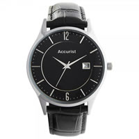 Buy Accurist Watches Black Leather Gents Classic Watch MS649B online