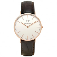 Buy Daniel Wellington 0510DW Classic York Ladies Brown Leather Watch online
