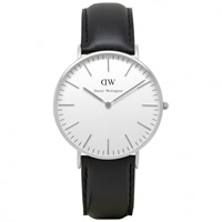 Buy Daniel Wellington 0608DW Classic Sheffield Ladies Black Leather Watch online