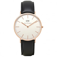 Buy Daniel Wellington 0508DW Classic Sheffield Ladies Black Leather Watch online