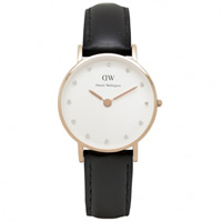 Buy Daniel Wellington 0901DW Classy Sheffield Ladies Black Leather Watch online