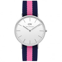 Buy Daniel Wellington 0604DW Classic Nato Winchester Ladies Blue and Pink Nylon Watch online