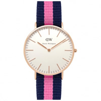 Buy Daniel Wellington 0505DW Classic Nato Winchester Ladies Blue and Pink Nylon Watch online