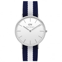 Buy Daniel Wellington 0602DW Classic Nato Glasgow Ladies Blue and White Nylon Watch online