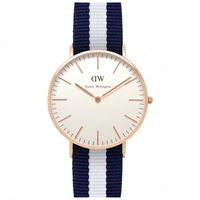 Buy Daniel Wellington 0503DW Classic Nato Glasgow Ladies Blue and White Nylon Watch online