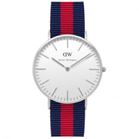 Buy Daniel Wellington 0601DW Classic Nato Oxford Ladies Blue and Red Nylon Watch online
