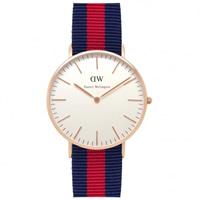 Buy Daniel Wellington 0501DW Classic Nato Oxford Ladies Blue and Red Nylon Watch online