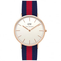 Buy Daniel Wellington 0101DW Classic Nato Oxford Gents Blue and Red Nylon Watch online
