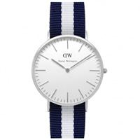 Buy Daniel Wellington 0204DW Classic Nato Glasgow Gents Blue and White Nylon Watch online