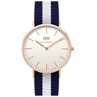 Buy Daniel Wellington 0104DW Classic Nato Glasgow Gents Blue and White Nylon Watch online