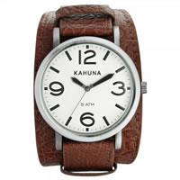 Buy Kahuna Watches KUC-0053G Mens Brown Stainless Steel Genuine Leather Cuff Strap Watch online