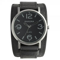 Buy Kahuna Watches KUC-0056G Mens Stainless Steel Black Genuine Leather Cuff Strap Watch online