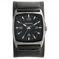 Buy Kahuna Watches KUC-0032G Mens Stainless Steel Black Genuine Leather Broad Strap Watch online