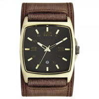 Buy Kahuna Watches KUC-0034G Mens PVD Gold plated  Brown Genuine Leather Broad Strap Watch online