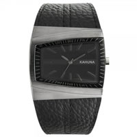 Buy Kahuna Watches KUS-0070G Mens Ion plated S-S Black Genuine Leather Watch online