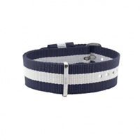 Buy Daniel Wellington 0404DW Nato Glasgow Silver Gents Blue and White Nylon Strap online