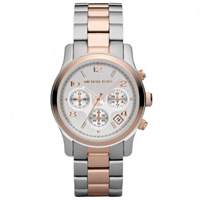 Buy Michael Kors Watches Ladies Chronograph Silver & Rose Tone Plated Watch MK5315 online