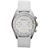 Buy Armani Watches Leather White Womens Chronograph Watch AR6011 online