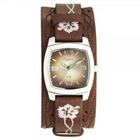 Buy Kahuna Watches KUS-0035L Ladies Brown Genuine Leather Cuff Strap Watch online