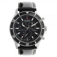Buy Swiss Military 06-4183-04-007 Swiss Flagship Chronograph Black Genuine Leather Gents Watch online