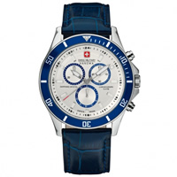 Buy Swiss Military 06-4183-04-001-03 Swiss Flagship Chronograph Blue Genuine Leather Gents Watch online