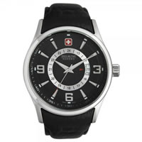 Buy Swiss Military 06-4155-04-007 Navalus Chronograph Genuine Black Leather Gents Watch online
