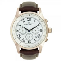 Buy Kennett Watches WSAVGOLWHBR Gents Savro Gold Tone & Brown Watch online