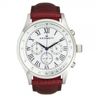 Buy Kennett Watches WSAVSILWHBR Gents Savro Silver & Brown Watch online