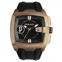 Buy Police Watches 13895JSQBR-02 Commander Black Leather, Brown Tone Watch online