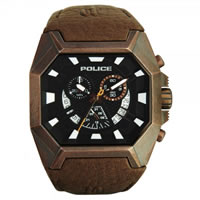 Buy Police Watches PL13837JSQBR-02 Police Mens Hunter Antique Brown Chronograph Watch online