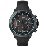 Buy Timex Watches Ion-Plated Black Silicone Gents Linear Chronograph Quartz Watch T2P272 online