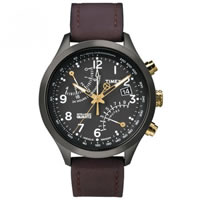 Buy Timex Watches Brown Leather Gents Fly-Back Chronograph Quartz Watch T2N931 online