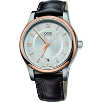 Buy Oris Automatic Mens Leather Strap Watch 73375784331LS online
